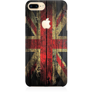 RAYITE UK Flag On Wood Premium Printed Mobile Back Case Cover For Apple IPhone 7 Plus Apple Logo Cut