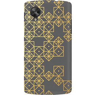 RAYITE Gold Geometric Pattern Premium Printed Mobile Back Case Cover For LG Nexus 5
