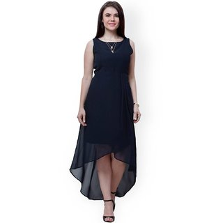 444417183d80 Buy Indicot Black Georgette High Low Asymmetric Women Party Wear Long Plain One  Piece Dress Online   ₹799 from ShopClues