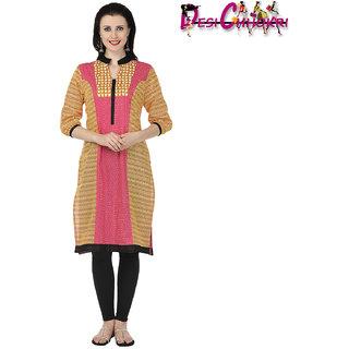 Desi Chhokri Pink  Yellow Chinese Collar Cotton Kurti