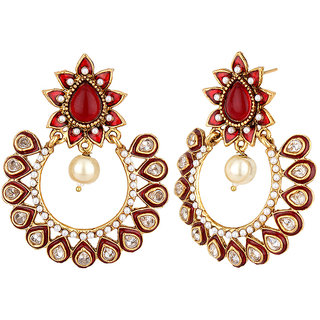 Jewels Capital Exclusiv Golden Red Maroon White Earrings Set /S 1659