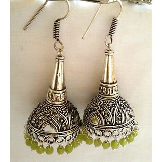 4fafb951c7e Silver Tokri n cone jhumkas with light green beads Prices in India-  Shopclues- Online Shopping Store
