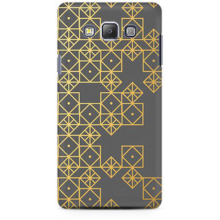 RAYITE Gold Geometric Pattern Premium Printed Mobile Back Case Cover For Samsung On7