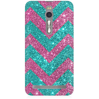 RAYITE Glitter Print Chevron Premium Printed Mobile Back Case Cover For Asus Zenfone 2