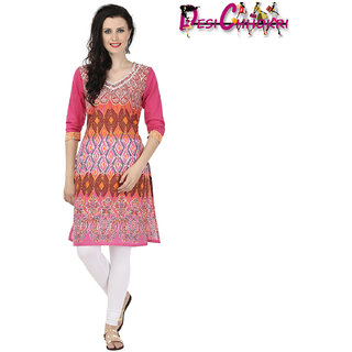 Desi Chhokri Pink V Neck Cotton Kurti