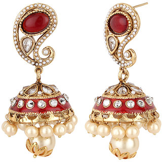 Jewels Capital Exclusiv Golden Red White Earrings Set /S 1664