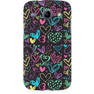 RAYITE Colourful Hearts Sketch Premium Printed Mobile Back Case Cover For Samsung Core I8262
