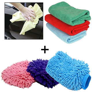 Microfiber cleaning cloth+ microfiber gloves