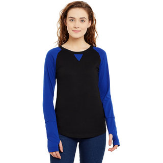 Hypernation Mix And Match Black and Royal Blue Cotton Round Neck Thumb Hole T-shirt For Women.