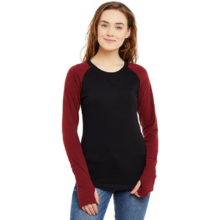 babfe6c89db Hypernation Mix And Match Black and Maroon 100 Cotton Round Neck Full  Sleeves Thumb Hole T-shirt For Women.