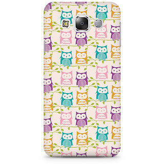 RAYITE Colourful Owl Premium Printed Mobile Back Case Cover For Samsung E5