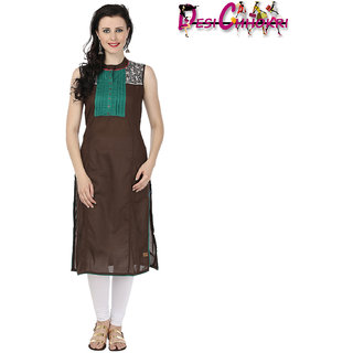 Desi Chhokri Brown  Green Crew Neck Cotton Kurti
