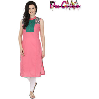 Desi Chhokri Pink  Green Crew Neck Cotton Kurti
