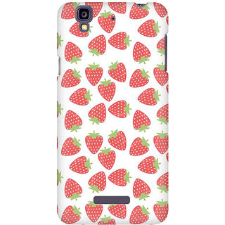 RAYITE Strawberry Pattern Premium Printed Mobile Back Case Cover For Micromax Yureka
