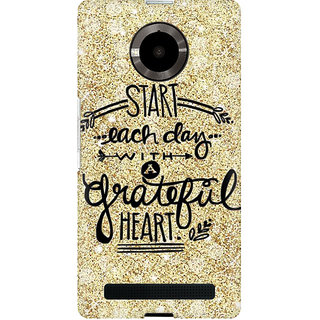 RAYITE Start Each Day Premium Printed Mobile Back Case Cover For Micromax Yuphoria