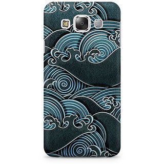 RAYITE Black Sea Waves Premium Printed Mobile Back Case Cover For Samsung E5