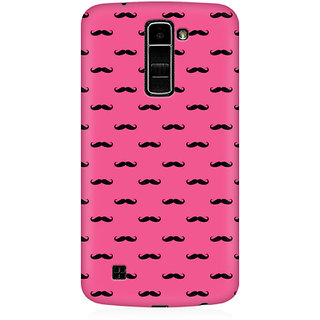 RAYITE Pink Moustache Premium Printed Mobile Back Case Cover For LG K7