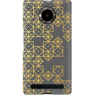 RAYITE Gold Geometric Pattern Premium Printed Mobile Back Case Cover For Micromax Yuphoria