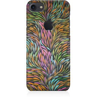 RAYITE Colourful Flames Premium Printed Mobile Back Case Cover For Apple IPhone 7 Apple Logo Cut