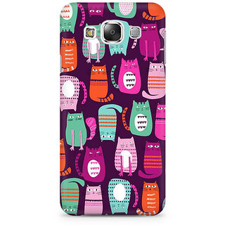RAYITE Cat Pattern Premium Printed Mobile Back Case Cover For Samsung E7