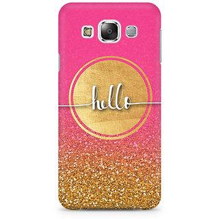 RAYITE Hello Glitter Print Premium Printed Mobile Back Case Cover For Samsung E5