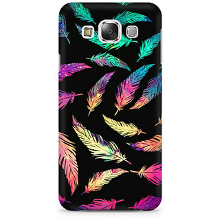 RAYITE Colourful Leaf Premium Printed Mobile Back Case Cover For Samsung E7