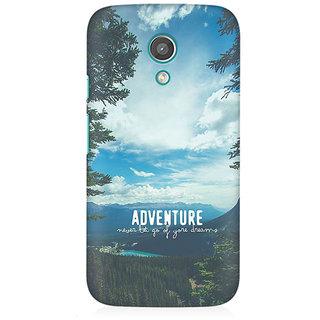 RAYITE Adventure Begins Premium Printed Mobile Back Case Cover For Moto E