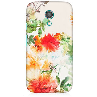 RAYITE Watercolor Flower Premium Printed Mobile Back Case Cover For Moto E