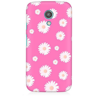 RAYITE Pink Daisy Pattern Premium Printed Mobile Back Case Cover For Moto E