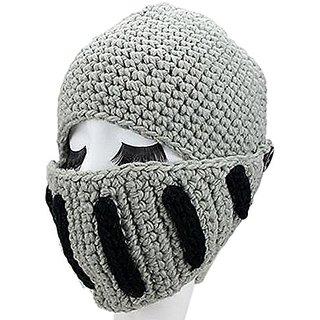 e05a25d324a GIANCOMICS Roman Cosplay Knight Helmet Visor Knit Beanie Hat Winter Mask  Cap Grey