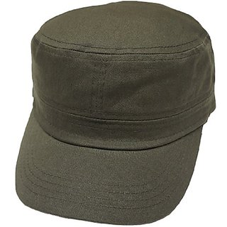 c8c53705419 Buy Solid Castro Cadet Cap - 100% Cotton Hat - Adjustable Velcro Back (Olive  Green) Online   ₹3574 from ShopClues