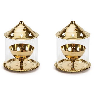 Decorate india Brass small Akhand diya set