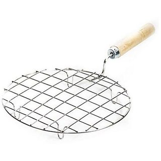 Kudos Stainless Steel Round Papad Jali With Handle