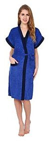 Superior Women Royal Blue Double Shaded Cotton Bathrobe Gown