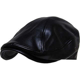 1f592e0ca3f Buy KBW-312 BLK S M PU Leather Classic Ascot Ivy Newsboy Hat Online ...