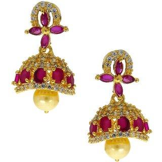 Anuradha Art Pink Colour Classy Beautiful Stylish Traditional American Diamonds Stone Jhumki/Jhumka Earrings For Women/Girls