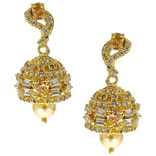 Anuradha Art Peach Colour Very Simple Stylish Wonderful Traditional American Diamonds Stone Jhumki/Jhumka Earrings For Women/Girls