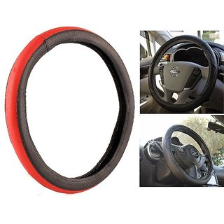 NS Group Perfect Fit  Red And Black Steering Wheel Cover For Mahindra Maximo Plus