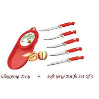 Amiraj Combo Of Chopping Tray & Soft Grip Knife Set Of 5 - 08