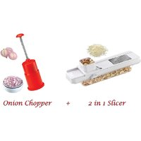 Amiraj Combo Of Onion Chopper & 2 In 1 Slicer - 10