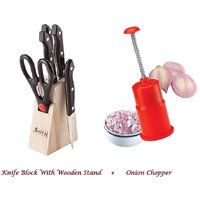 Amiraj Kitchen Combo Of Onion Chopper & Knife Block Set - 13