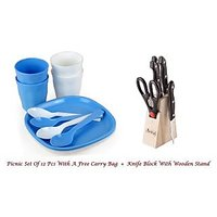 Amiraj Combo Of Picnic Set & Knife Block Set - 16