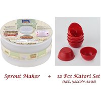 Amiraj Combo Of Sprout Maker & 12 Pcs Katori Set - 18