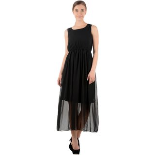 Raabta Black Plain Long Monika Dress