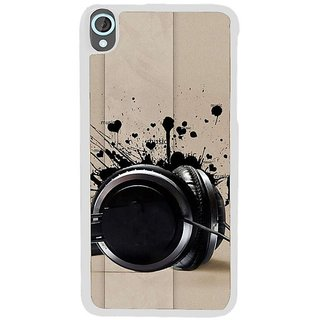 Fuson Designer Phone Back Case Cover HTC Desire 820 ( Black Headphones )