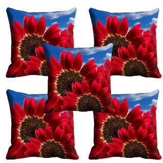 meSleep Red Floral Cushion Cover (20x20) - 20CD-92-061-S5