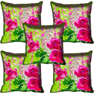 meSleep Pink Rose Digital Printed Cushion Cover 20x20 - 20CD-83-13-05