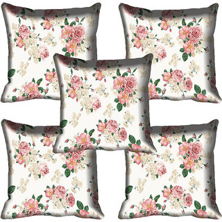 meSleep Pink Flowers Digital Printed Cushion Cover 20x20 - 20CD-83-22-05