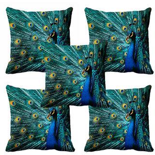 meSleep 3D Blue Peacock Cushion Cover (20x20) - 20CD-92-185-S5