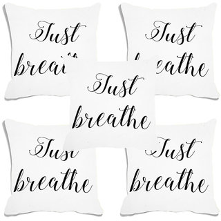 meSleep Just Breathe Digital Printed Cushion Cover (20x20) - 20CD-93-017-S5
